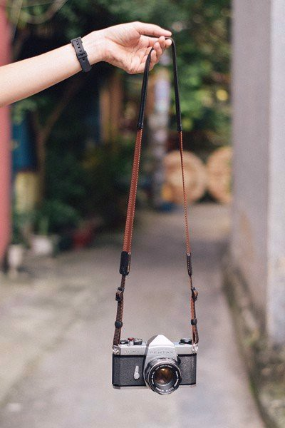 Dây Máy Chụp Ảnh Da Cừu Nâu - Sheep Leather Camera Neck Strap Brown