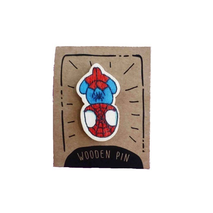 Huy Hiệu Gỗ Spiderman - Spiderman Wooden Pin