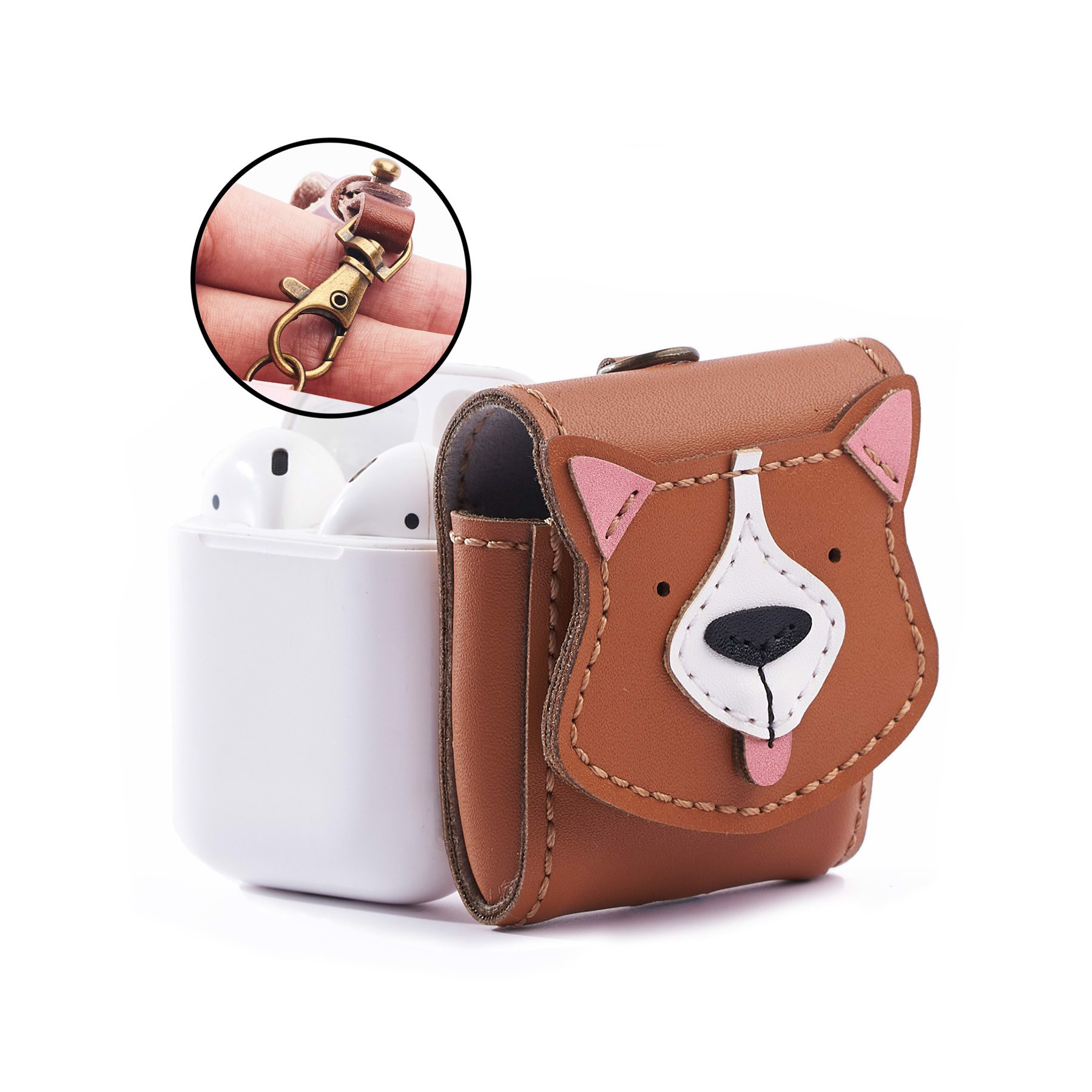 Bao Da Đựng Airpod Cún Corgi - Leather Airpod Case Corgi Edition