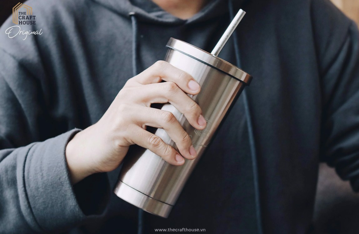 Bộ Ly Tumbler Inox Cao Cấp Xám Bóng The Craft House - The Craft House Stainless Steel Water Bottle Tumbler Set Reflective Grey
