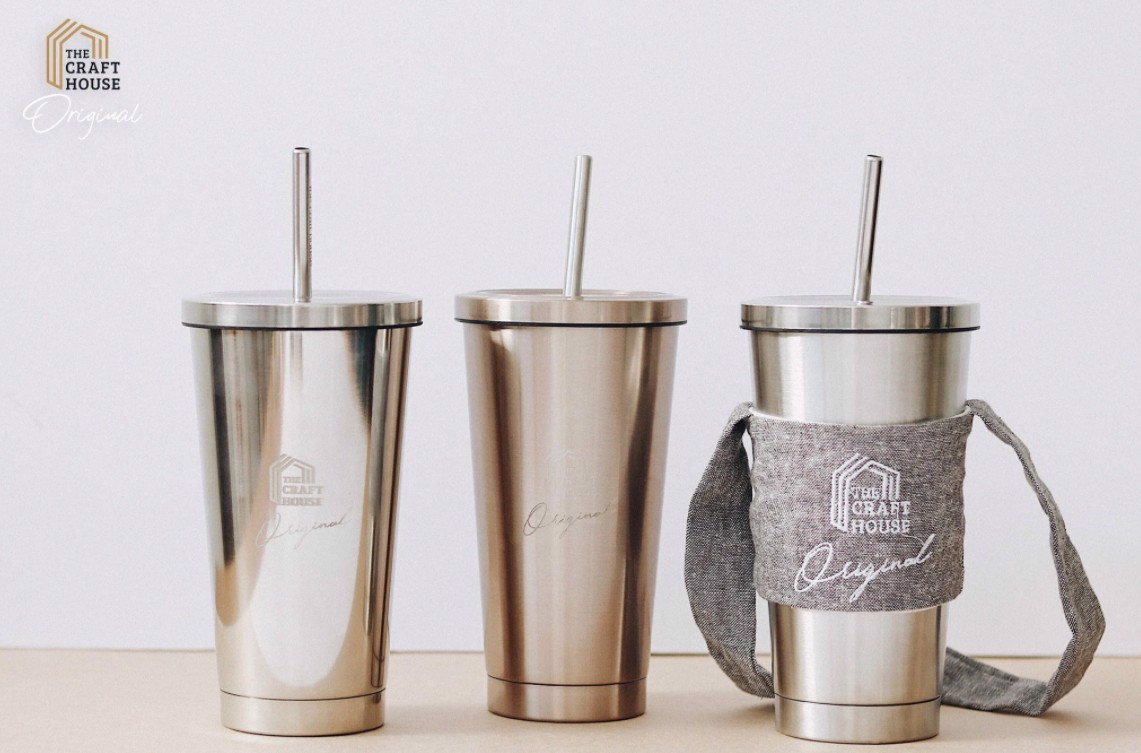 Bộ Ly Tumbler Inox Cao Cấp Xám Đen The Craft House - The Craft House Stainless Steel Water Bottle Tumbler Set Dark Grey