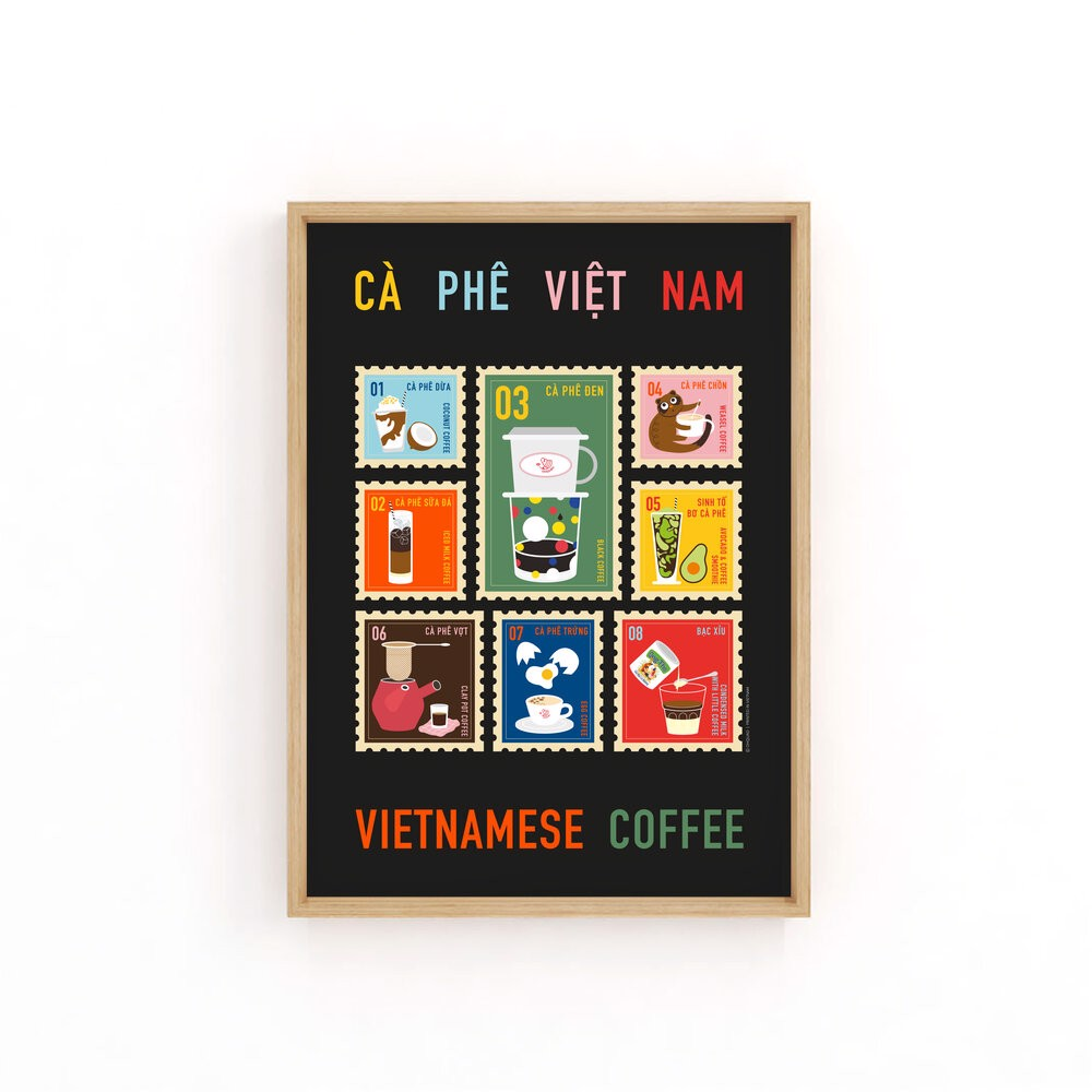 Tranh In Coffee Stamps - Painting Coffee Stamps