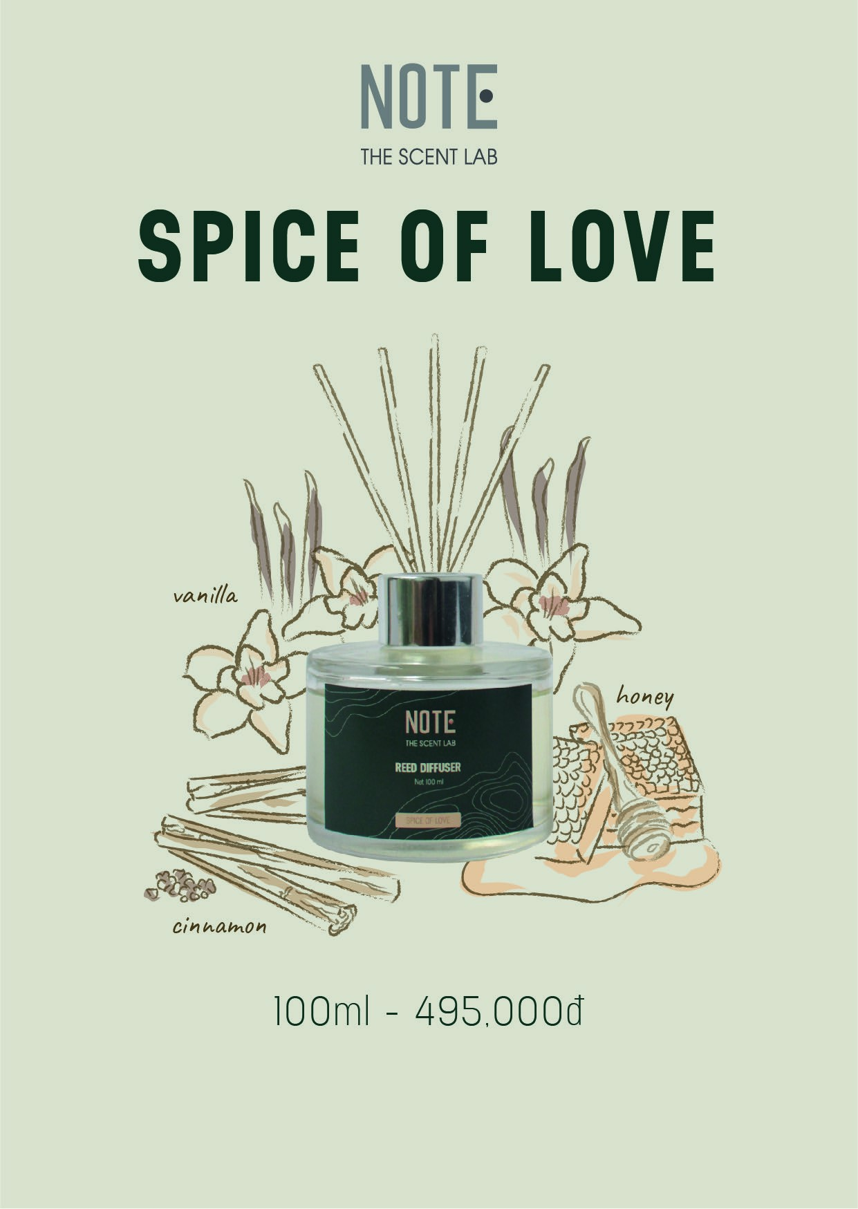 Lọ Khuyếch Tán Tinh Dầu Spice Of Love - Natural Diffuser Spice Of Love