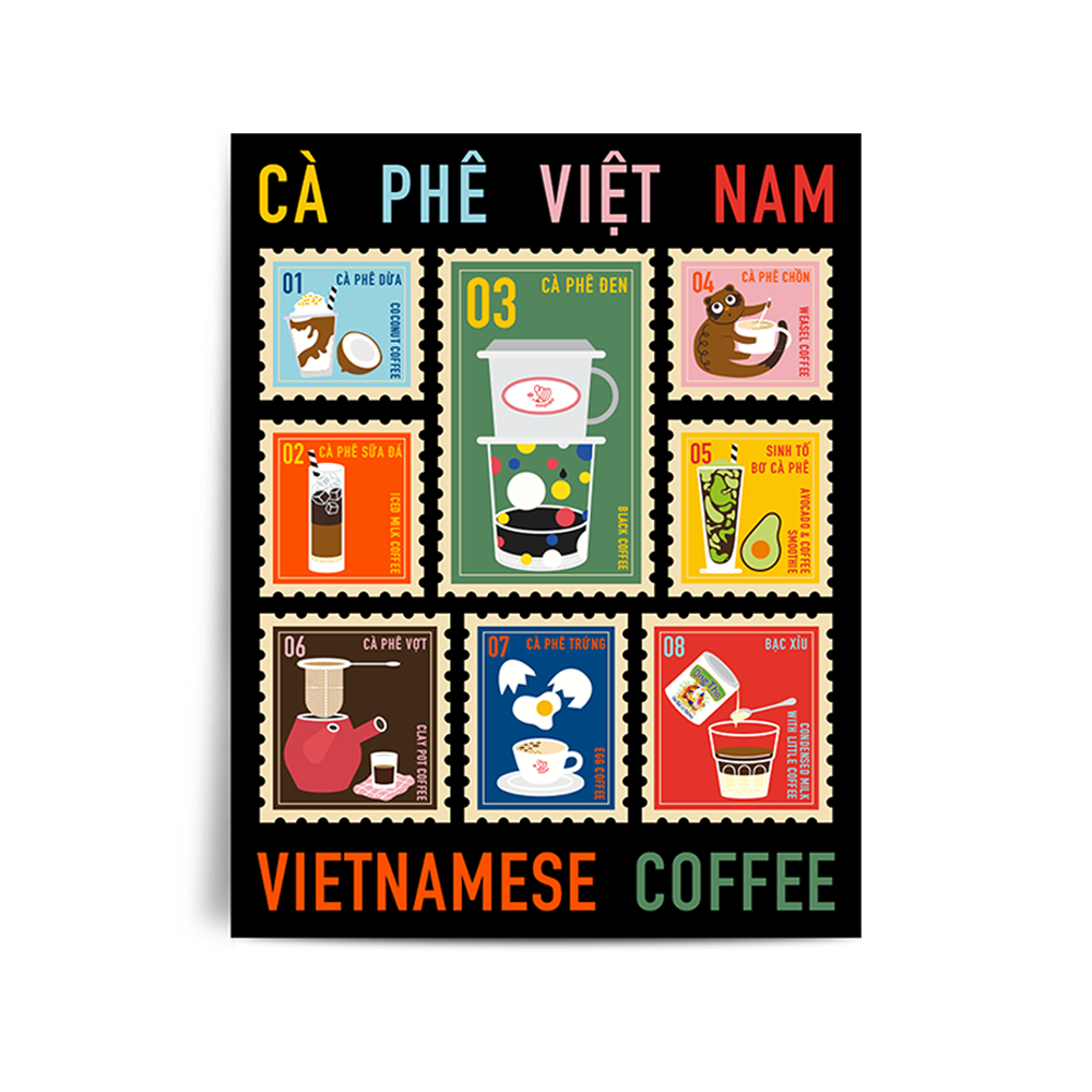 Bưu Thiếp Oh Quao Coffee Stamps // Oh Quao Postcard Coffee Stamps