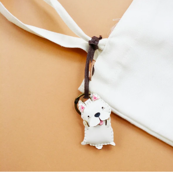 Charm Da Chó Maltese Độc Đáo - Unique Leather Charm Maltese Edition