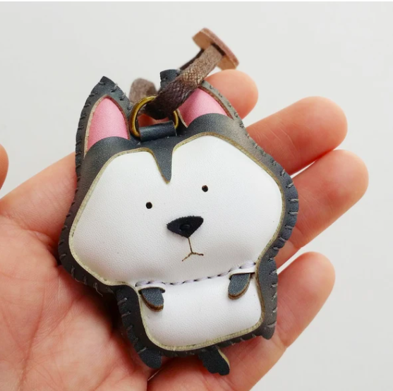 Charm Da Chó Husky Độc Đáo - Unique Leather Charm Huskey Edition