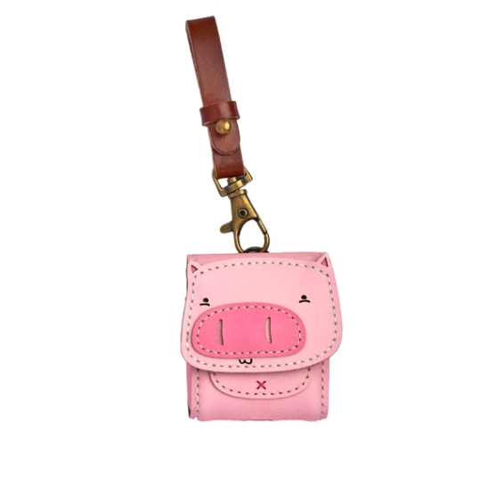 Bao Da Đựng Airpod Heo Hồng - Leather Airpod Case Pink Pig Edition