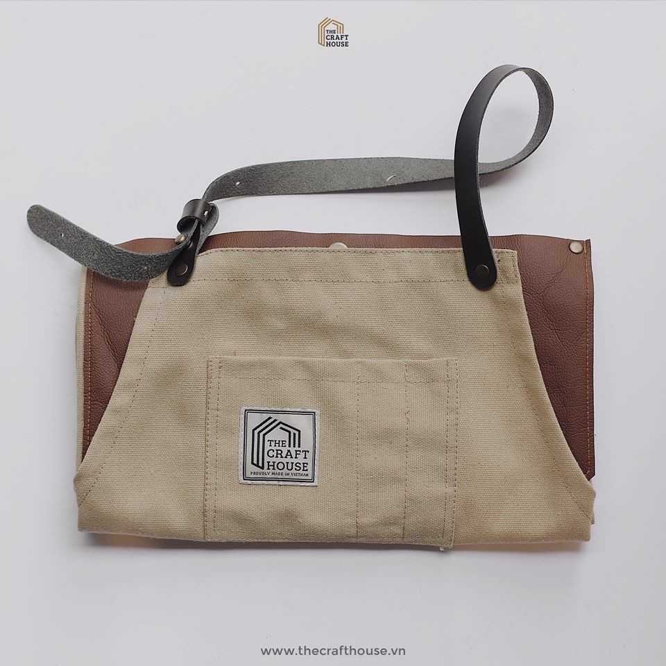 Tạp Dề Canvas Phối Da - Canvas Leather Apron