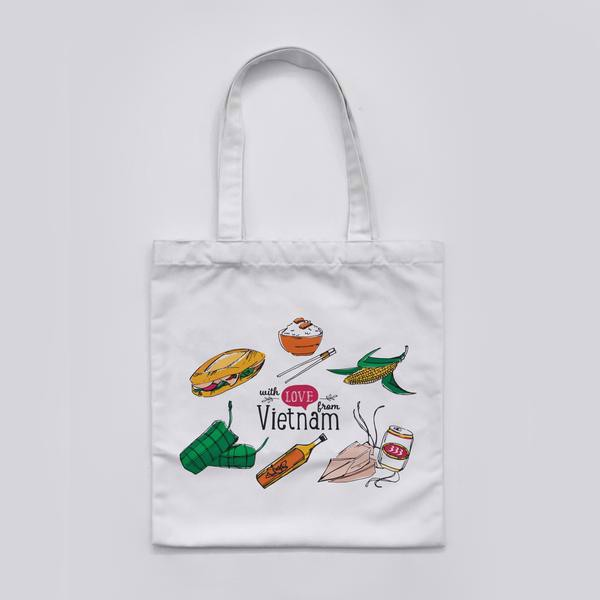 Túi Tote Canvas Vietnamese Food - Canvas Tote Bag Vietnam Food