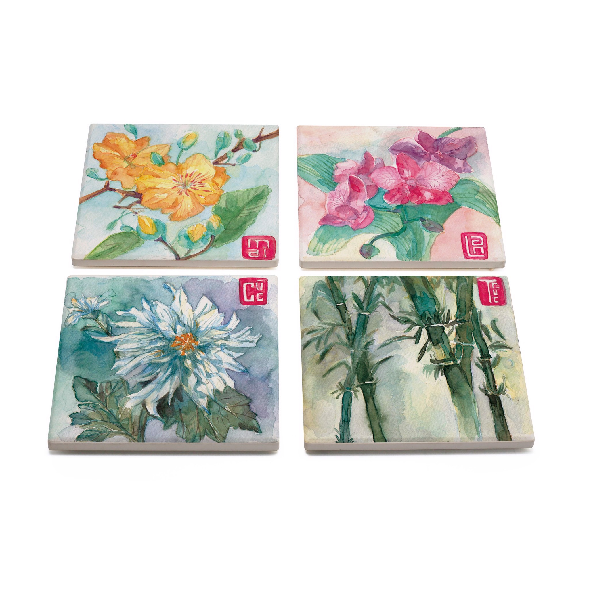 Set Lót Ly Gốm Vuông - Flower Of Vietnam // Set Square Coaster Flowers of Vietnam