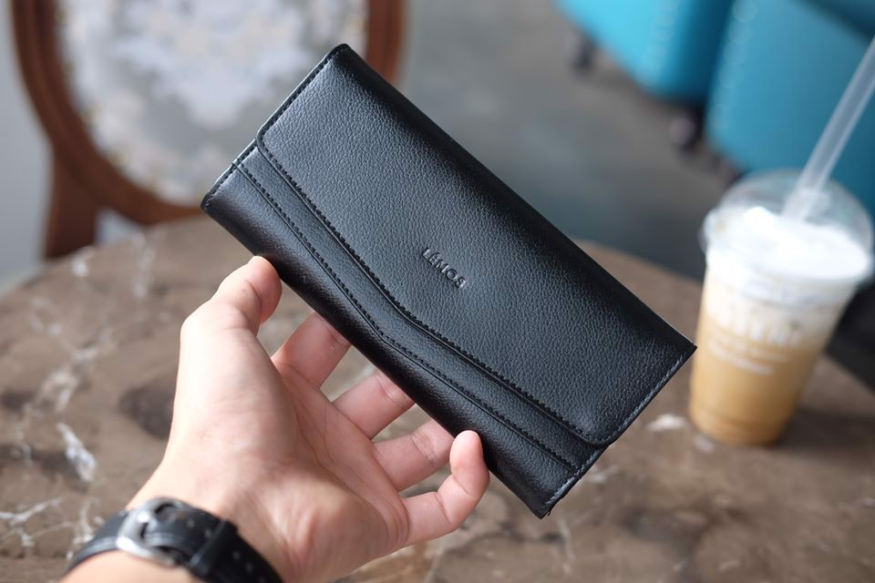 WALLET CERA - In Natural Milled Leather - Đen - HP71-10