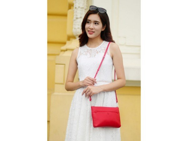 CROSSBODY BAG - IN NATURAL MILLED LEATHER - RED