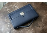 Bag - In Natural Milled Leather - Blue Navy