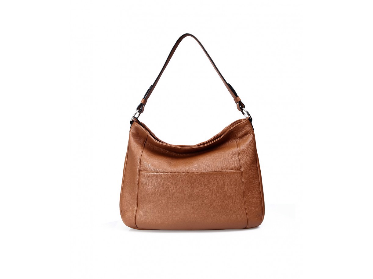 PATOO HOBO - IN NATURAL MILLED LEATHER - BROWN