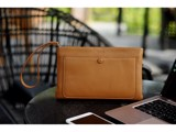 CLUTCH PLUS - IN NATURAL MILLED LEATHER - BROWN