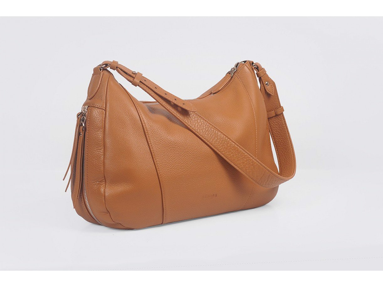 Varia Hobo - In Natural Milled Leather - Brown