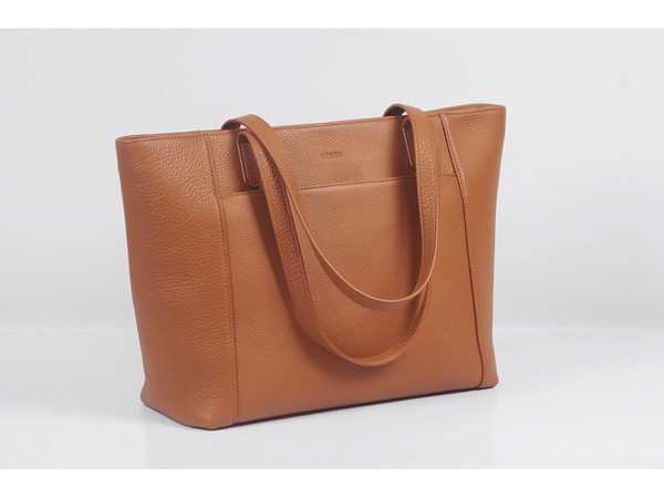 Far-Flu Tote - In Natural Milled Leather - Blown