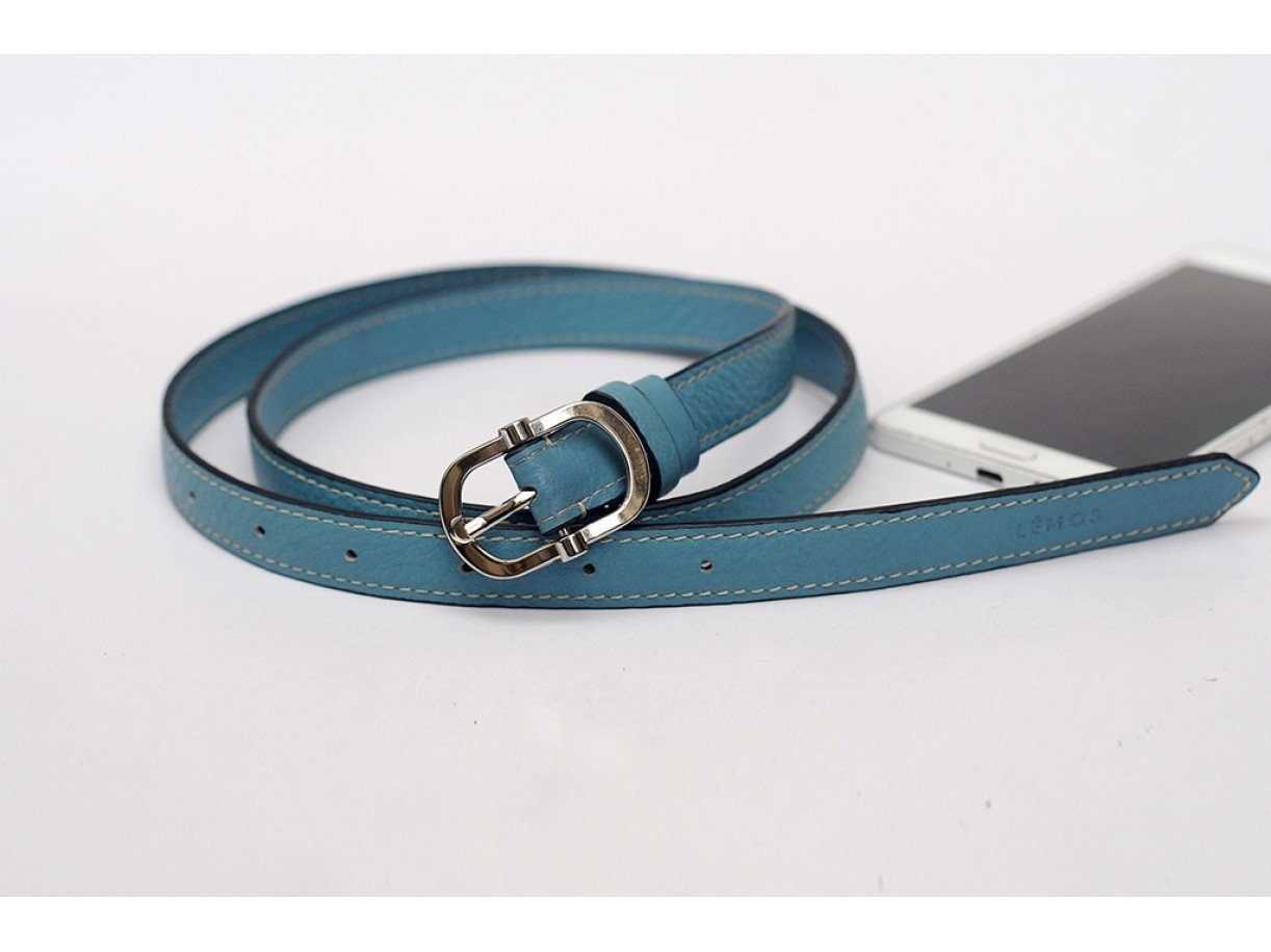 Women's Belts - In Natural Milled Leather - Blue Cerulean