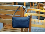 CROSSBODY BAG - IN NATURAL MILLED LEATHER - BLUE NAVY