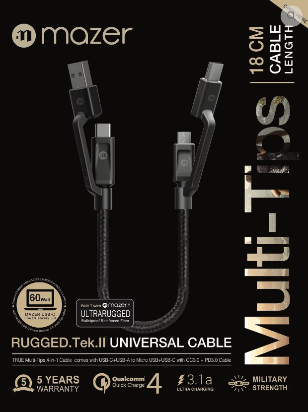 Multi-Tips Rugged.Tek.II 18CM USB-A+USB-C To Micro USB+USB-C Cable
