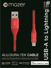 Mazer ALU.DURA.TEK Lightning To USB Cable 2.0M