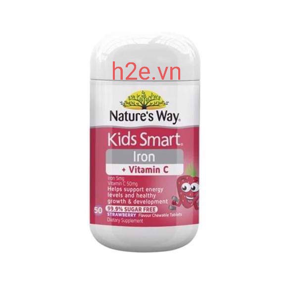 Viên nhai Nature's Way Kids Smart Iron + Vitamin C- lọ 50v