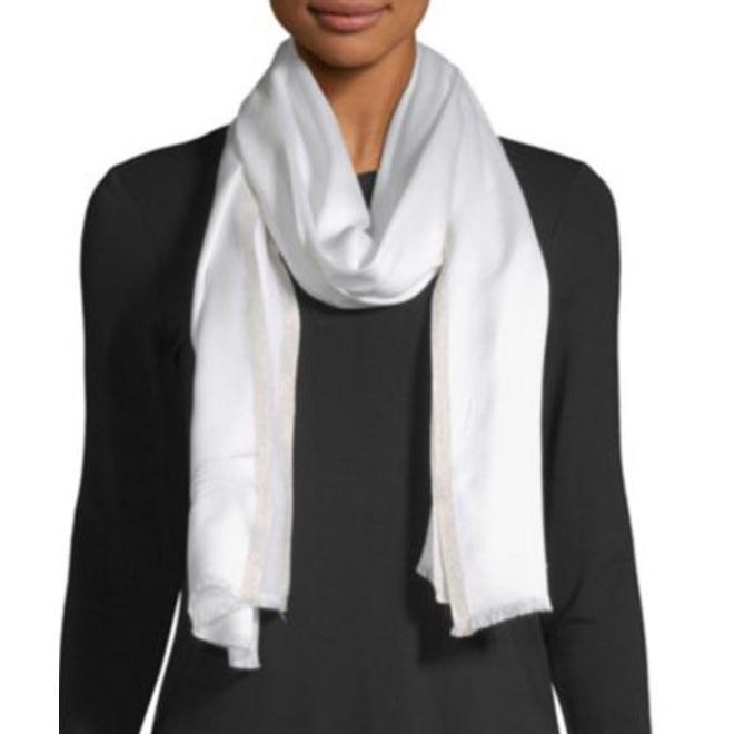 Khăn lụa Pashmina hiệu Calvin Klein màu trắng