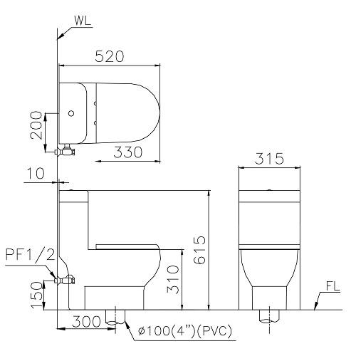Bản vẽ kỹ thuật Bồn cầu Caesar 1 khối C1352 dùngcho trẻ em