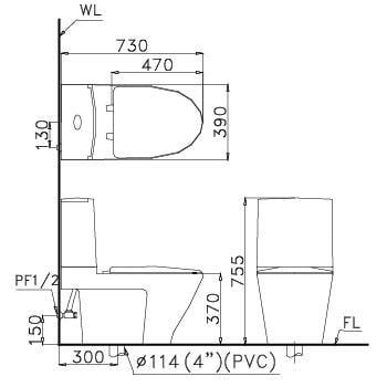 Bản vẽ kỹ thuật Bồncầu Caesar 2 khối CD1345