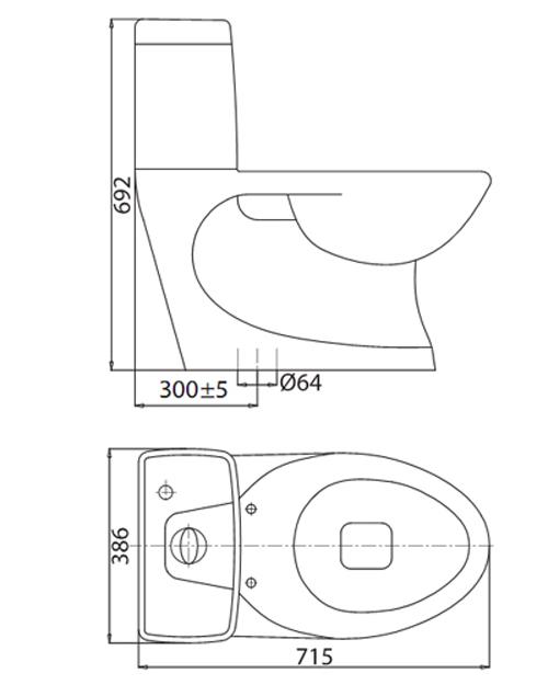 Bản vẽ kỹ thuật bồn cầu 1 khối Viglacera C0504
