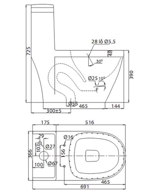 Bản vẽ kỹ thuật Bồn cầu 1 khối Viglacera V35