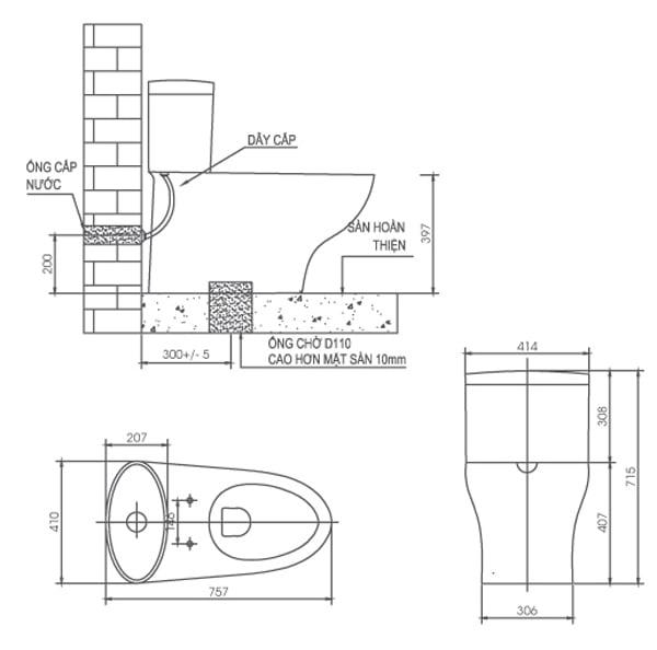 Bản vẽ kỹ thuật bồn cầu 1 khối Viglacera V37M
