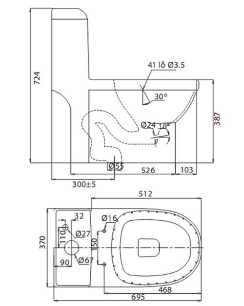 Bản vẽ kỹ thuật Bồn cầu 1 khối Viglacera V41