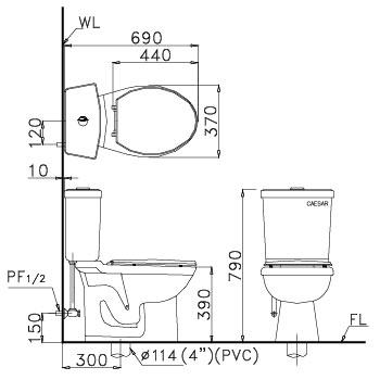 Bản vẽ kỹ thuật Bồn cầu CaesarCD1325 hai khối