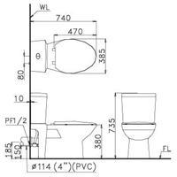 Bản vẽ kỹ thuật Bồncầu Caesar 2 khối CPT1440