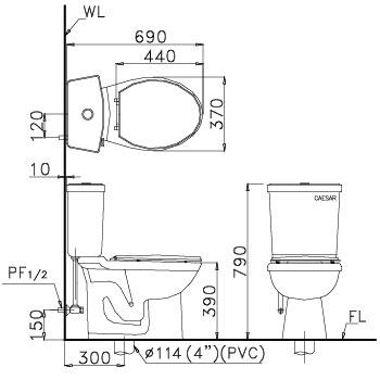 Bản vẽ kỹ thuật Bồn cầu 2 khối Caesar CT1325