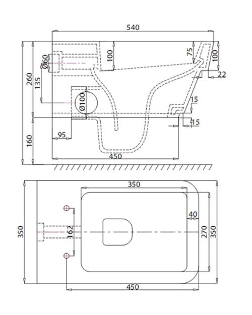 Bản vẽ kỹ thuật bồn cầu Viglacera âm tường V50