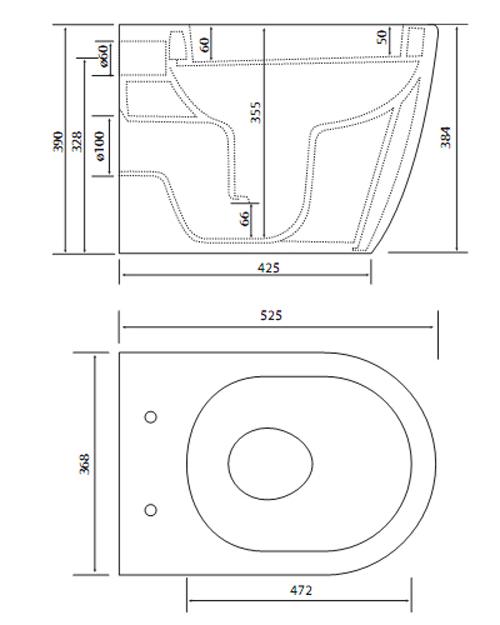 Bản vẽ kỹ thuật bồn cầu Viglacera âm tường V56