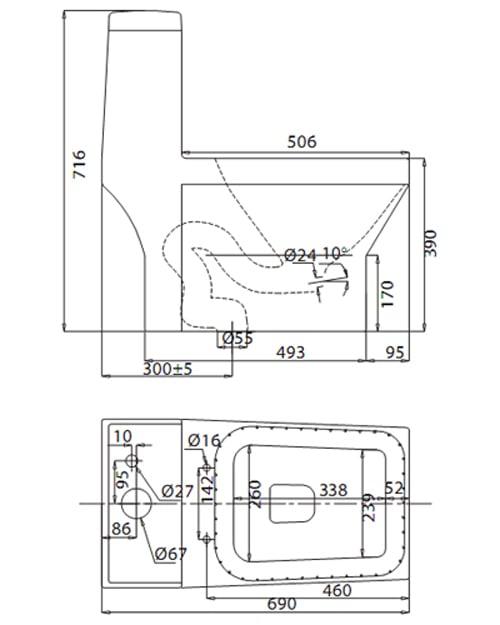 Bản vẽ kỹ thuật Bồn cầu 1 khối Viglacera V42
