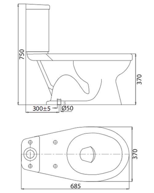 Bản vẽ kỹ thuật Bồn cầu Viglacera 2 khối VI44