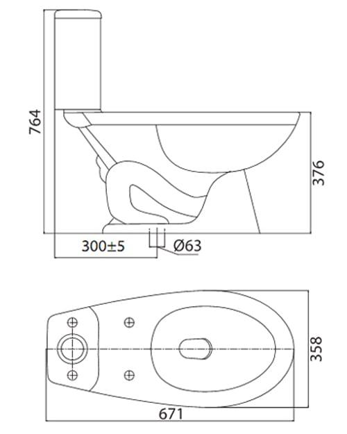 Bản vẽ kỹ thuật bồn cầu Viglacera 2 khối VT34