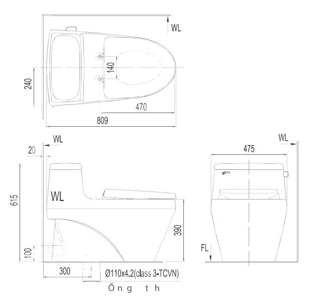 Bản vẽ kỹ thuật bồn cầu Inax 1 khối AC-1017VRN
