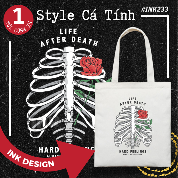 Túi Tote Bag Vải Canvas LIFE AFTER DEATH INK233