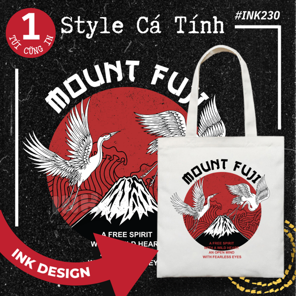 Túi Tote Bag Vải Canvas Mẫu MOUNT FUJI INK230