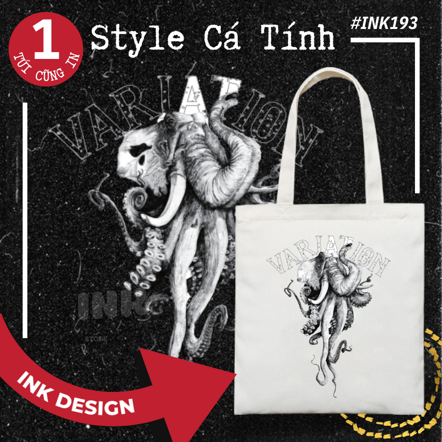 Túi Tote Bag Vải Canvas Mẫu VARIATION INK193