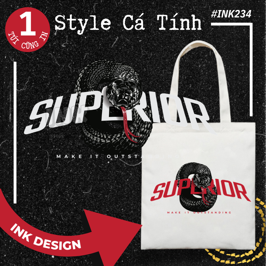 Túi Tote Bag Vải Canvas Mẫu SNAKE SUPERVIOR INK234