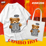 COMBO HOT: Áo thun + túi canvas TEDDY BEAR THROUGH INK206