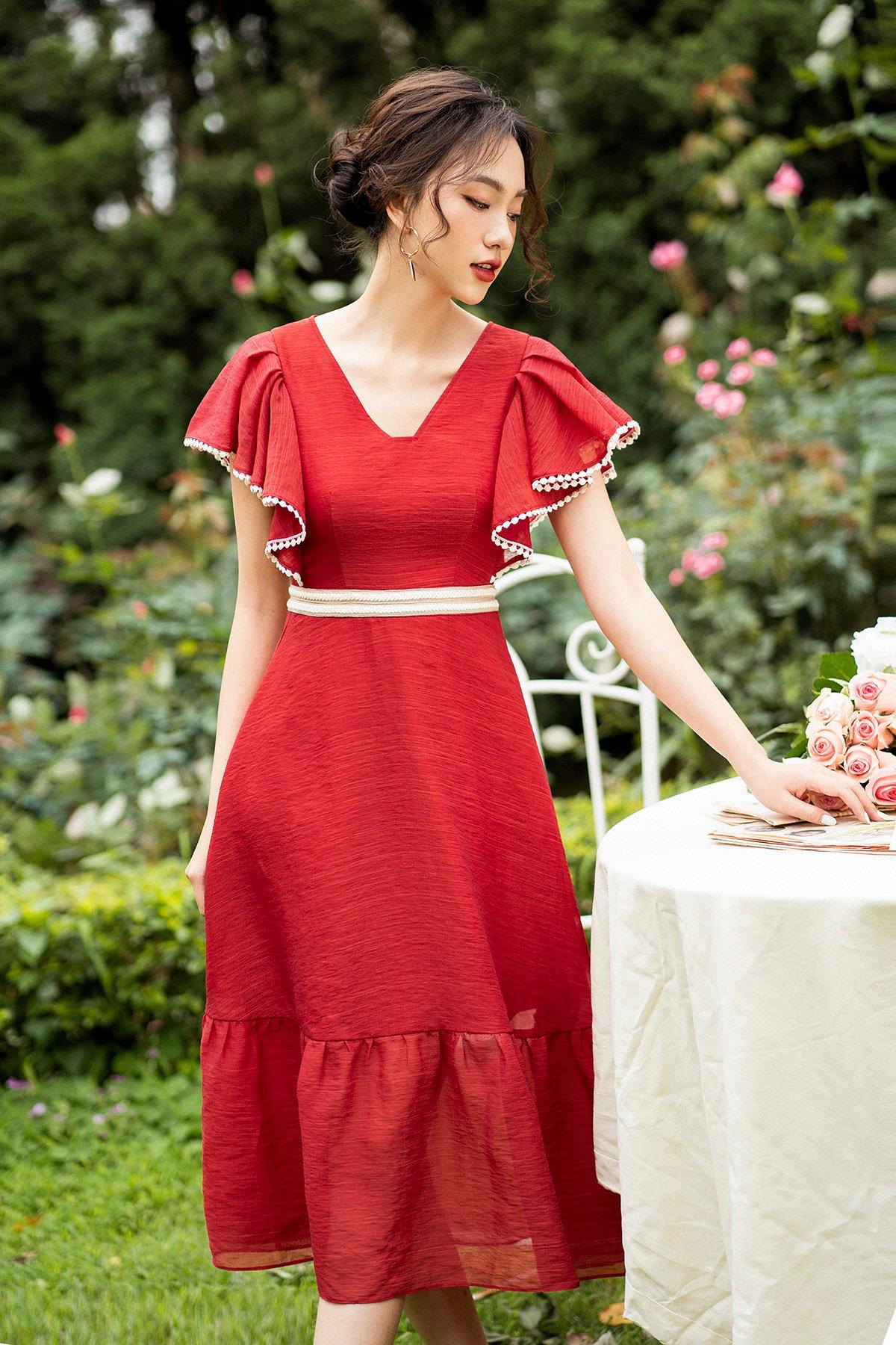 Váy tay bèo phối ren trắng đỏ
