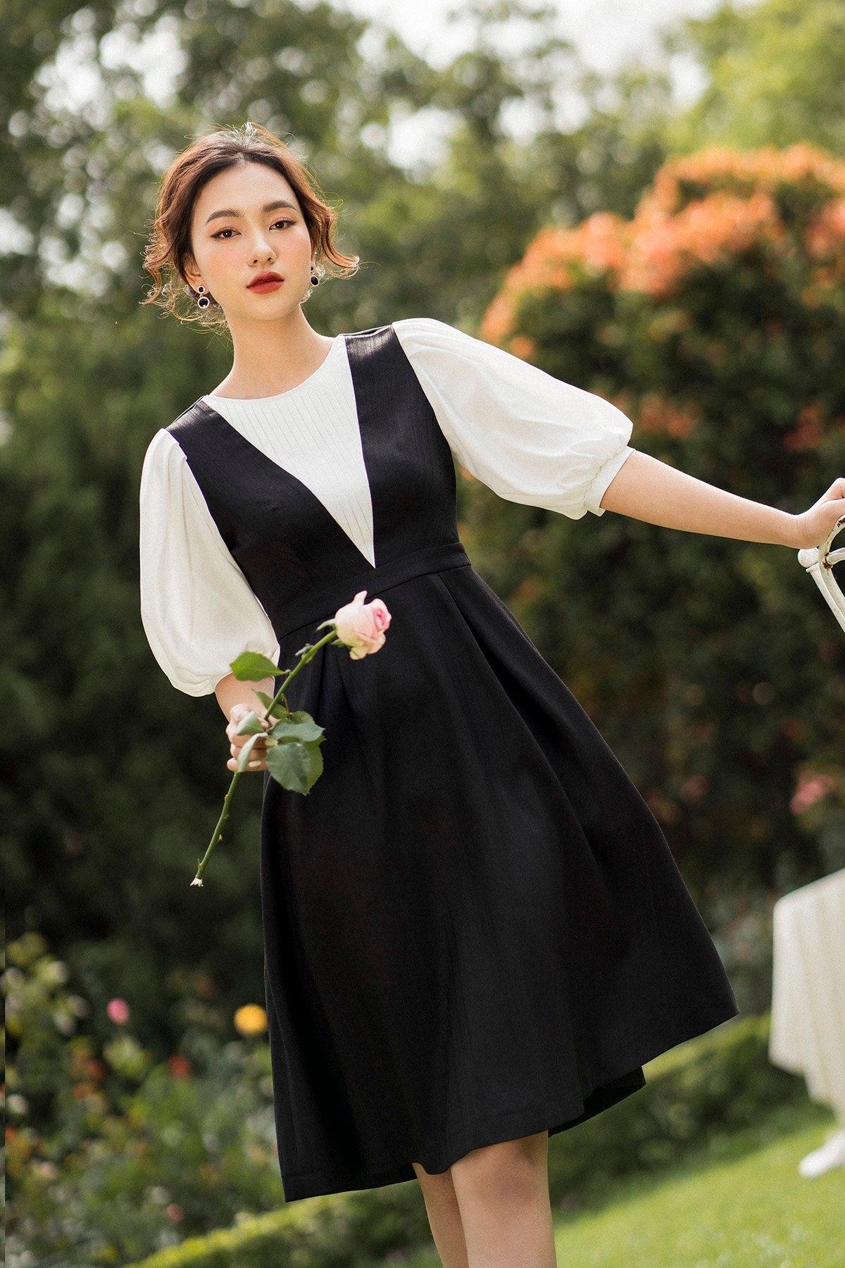 Váy li ngực phối trắng đen