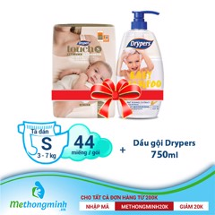 A.[combo] Tã dán Drypers Touch S 44 miếng (3 - 7kg) + Dầu gội Drypers 750ml